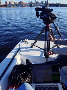 A JVC GY-HM600 streaming from the bow of a launch
